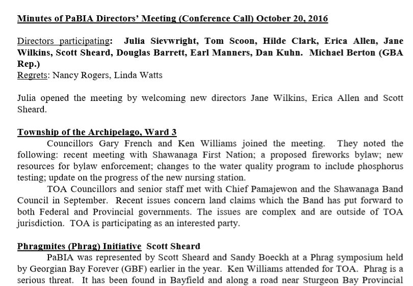 Minutes of PaBIA Directors' Meeting (Conference Call) October 20, 2016